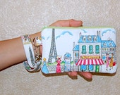 Parisville - Wristlet Purse with Removable Strap and Interior Pocket