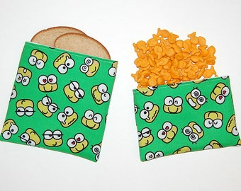 Eco Friendly Reusable Sandwich and Snack Bag Set - Handcrafted from Keroppi Fabric (Zipper or Velcro)