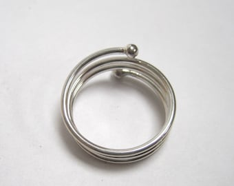 Sterling silver triple coil thumb ring-free shipping