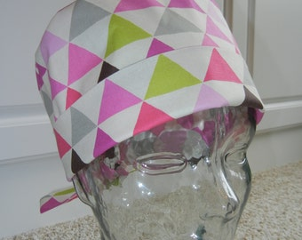Tie Back Surgical Scrub Hat with Modern Triangles