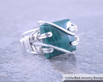 Malachite Sterling Silver Wire Ring