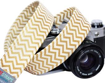 Chevron Camera Strap - Metallic Gold Chevron Strap