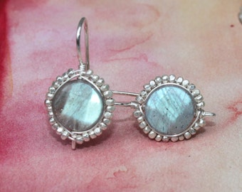 Labradorite Earrings with Faceted Thai Silver Bead Wire Wrapped Bezel Handcrafted Sterling Silver Earrings