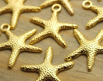 Gold Starfish Charm - 20 pcs - 20mm - Beach Charms - Nautical Charms - Patina Queen