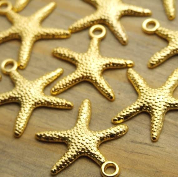 gold starfish charm 20 pcs 20mm charms nautical