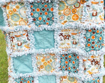Rag Quilt - Crib Quilt - Toddler Quilt - Mod Tod Fabrics - Aqua Blue - Brown - Handmade - Baby Rag Quilt