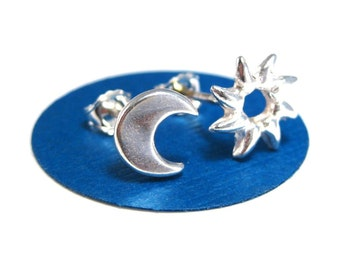 Moon and Sun Studs, Sun and Moon Mismatched Earrings