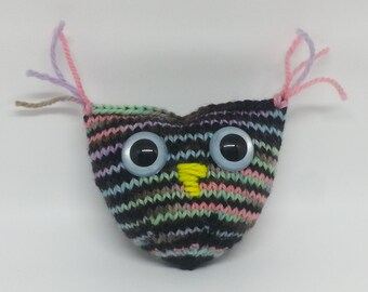 Striped Knitted Owl OOAK