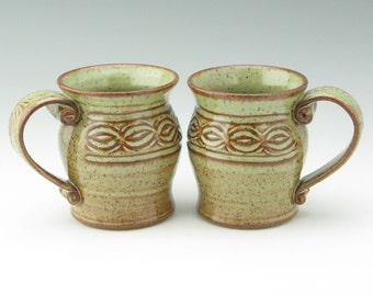 Carved Coffee Mug, Hand Carved Texturee 16 oz Pot Belly Chain Pattern Beer Mug, Pottery Soft Green Mug, Sold Singly, Ready to Ship