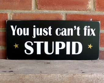You Just Can't Fix Stupid Wood Sign Wall Decor, Funny Saying Home Decor