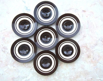 4 Vintage buttons, plastic buttons, dark brown and white circles pattern, 28mm, RARE