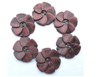 6 Buttons, antique vintage flowers 23mm warm red RARE