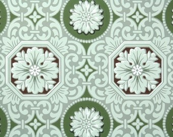 1940's Vintage Wallpaper - Green Brown and White Geometric