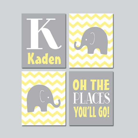 ELEPHANT Wall Art CANVAS Or Prints Baby Boy Nursery Elephant Wall Art