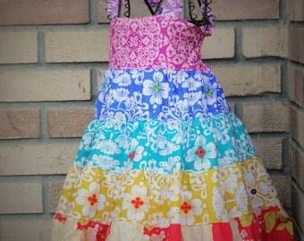 Girls Rainbow Party Dress Tiered Twirl Birthday Party Dress ROYGBIV Size 2 3