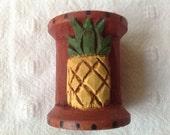 Primitive Christmas Wood Carved Pineapple Spool Christmas Ornament, Vintage Sewing Spool
