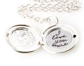 Custom Locket Necklace - Personalized Floral Locket in Silver or Gold