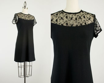 90s Vintage Black Floral Sheer Embroidered Mesh Mini Dress / Size Extra Small / Small