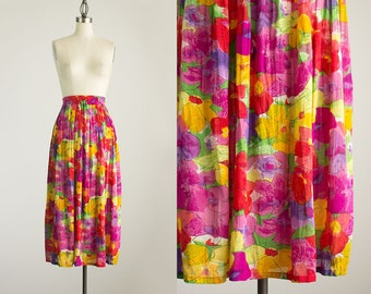 90s Vintage Colorful Floral Print Cotton Gauze Gypsy Bpho Maxi Skirt / Size Large