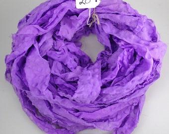 Chiffon Sari Ribbon, recycled Chiffon Sari ribbon, bubble ribbon, purple ribbon, PLEASE READ