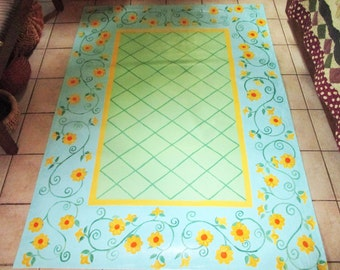 FLOORCLOTH  French Country  painted canvas rug 3'X5'