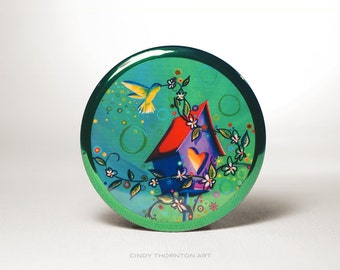 Pocket Mirror - It's The Little Things - Whimsical Design - by Cindy Thornton