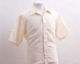Men's Short Sleeve Shirt / Vintage Ivory Collared Shirt / Size XXL