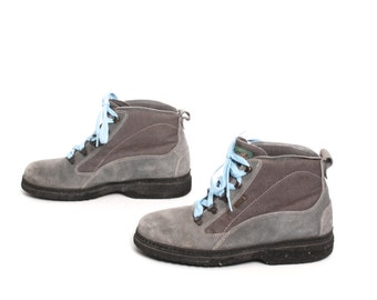 size 9 HIKING gray leather 80s 90s GRUNGE WEATHERPROOF ankle boots