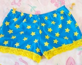 Wonder Woman hot pants cosplay starry stretch roller derby disco booty shorts size L large fairy kei