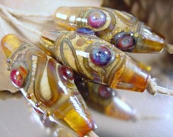 Handmade lampwork glass beads, Artisan glass beads, gold beads, blue beads, purple beads, ivory beads, bicone beads, SRA handmade lampwork