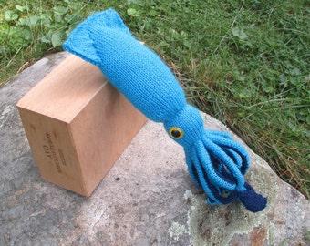 Plush giant squid stuffed animal, blue, handmade fiber art sculpture, stuffed giant squid