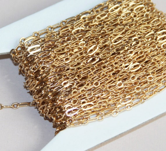 Special Sales 32ft spool of Gold plated Chain Long and Short Link 4X2mm - soldered links