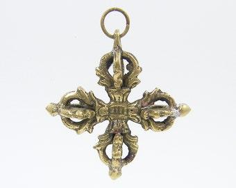 Cross Pendant for Necklace Tribal Dimensional Antique Gold Brass Bronze Tibetan Dorje Cross Charm |AN3-16|1