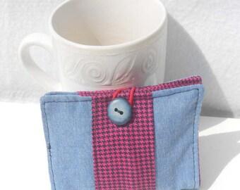 Tea Wallet, Tea Bag Holder, Fabric Wallet, Business Card Holder - Light Blue Denim and Pink Houndstooth