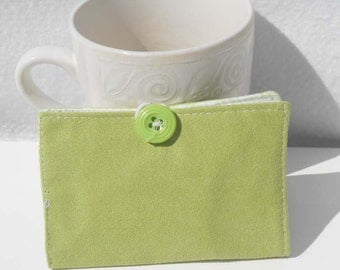 Tea Wallet, Suede Wallet, Business Card Holder - Light Green Suede Wallet