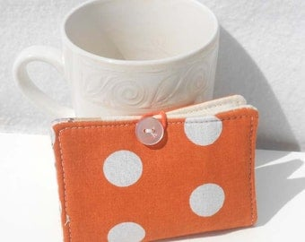 Tea Wallet, Fabric Wallet, Business Card Holder - Orange Polka Dot Wallet