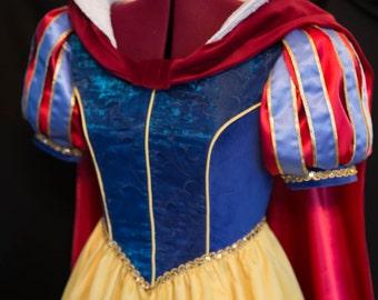 Amazing DELUXE Adult Snow WHITE #2 Gown/Cape/Bow Costume Custom Size