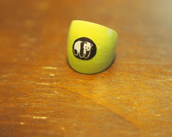 Lime Green Wooden Panda Ring Size 8.5