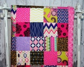 Nursery Quilt, Baby Quilt, Patchwork Quilt, Hot Pink Minky Backed Quilt