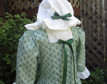 Girls  Colonial Costume/Early American..and  Mob Cap sizes 2 to 12 ...Made to order (PLEASE check lead time inside of ad)
