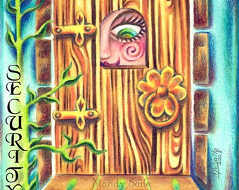 """Security - a Whimiscal 8 x 10"""" ART PRINT of a giant eye peeking through the window of a beautifully ornate wooden door"""