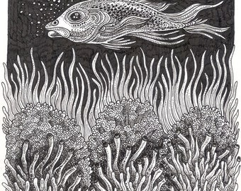 """Ink Drawing 18 - a whimsical black & white 8 x 10"""" ink pen ART PRINT of a fish serenly swimming over a beautifully detailed coral reef"""