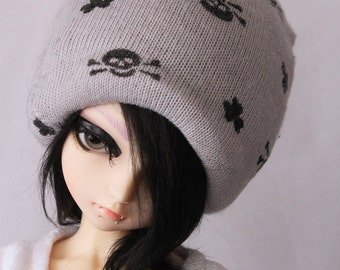 MSD BJD clothes Minifee Grey skull beanie by MonstroDesigns
