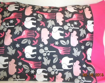 SALE ---  Pink Animals Pillowcase