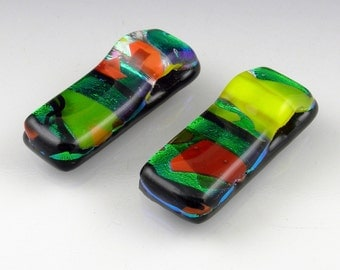 Dichroic Fused Glass Slider Beads Pendants