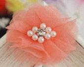 New! 4pcs Handmade Organza Flowers--light coral (FB1073)