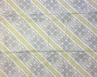 African print fabric, Grey and Yellow fabric, printed cotton, 6 Yards, Abstract cotton print fabric, Woodin, Le Bassam de woodin le createur