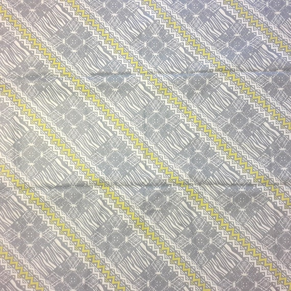 African print fabric, Grey and Yellow fabric, printed cotton, 6 ...