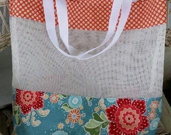 Blue & Coral Mesh Tote Market Beach Bag
