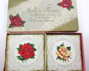 Vintage Unused Gold'n Roses All Occasion Blank Note Cards in Original Box Set of 20 with Envelopes